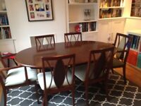 G Plan rare extending dining room table with 6 chairs