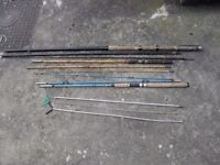 3 FISHING RODS, 2 ROD RESTS