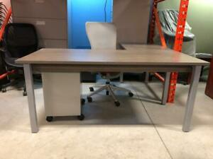 Globla Ionic 66 x 66 L-Shaped Desk with Mobile Metal Pedestal - Brand New