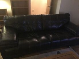 Leather brown sofas. 1x 2 seater and 1x 3 seater. £300