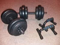 Dumbbells 20kg + push up stands
