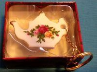 Royal Albert China Teapot Keyring BNWB