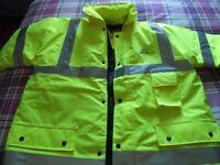Mens Size Large Hi Vis Site Jacket Storm Proof Reflective Tape PVC Coated Rain Coat New & Unworn