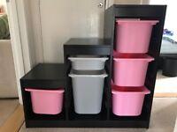 Ikea trofast unit and 6 storage boxes.