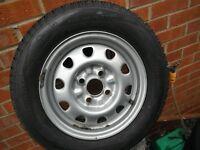 brand new 4 x 100 steel wheel v w polo/golf nissan micra vauxhall corsa c/w brand new 165/70/13 tyre