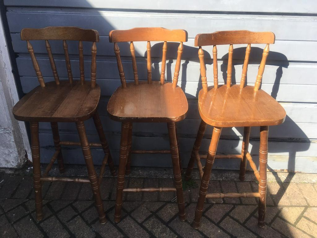 Wondrous X3 Pine Barstools Breakfast Bar Spindle Back Solid Wood In Batley West Yorkshire Gumtree Caraccident5 Cool Chair Designs And Ideas Caraccident5Info