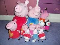 Plush giant Peppa pig George talking with mummy pig suzi sheep fairy peppa, 12 in total, bundle
