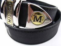 Men's black leather belt, Superb Italian Style Quality, new, gold trim to buckle. 40-44 waist.