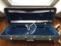 Violin / Fiddle Double Hard Case for 2 fiddles - blue velvet lined - RARE