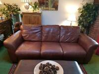 Stunning Brown leather 3 seater sofa violino Italian suite