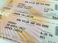 2 X BOB DYLAN TICKETS - LONDON PALLADIUM FRIDAY 28TH APRIL !!