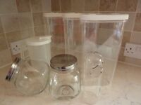 7 Kitchen Storage Glass Jars/ Large Plastic Containers