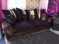 New Kirk Brown Fabric 3 Seater Sofa with Scatter Back Cushions