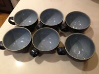6 Debby Blue Jetty Cups and Saucers