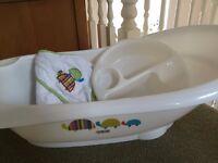 Baby bath, Mamas & Papas, towel and mit