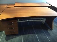 1.8 meter executive desks with pedstals in cherry finish