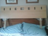 Stylish retro wooden headboard, double bed