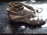 "Size 3 Footglove Soft Leather Sandels - Dark Coffee colour - 1"" heel - good condition"