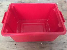 Red Open Top Plastic Box Crate with Handles Approx. 40 W x 27 D x 19 H cm