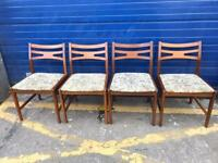 SET OF FOUR RETRO TEAK DINING CHAIRS - ANTIQUE VINTAGE RETRO