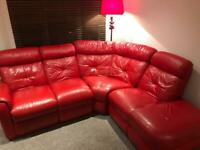 Red leather corner suite, open ended, Manual recliner.