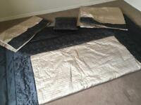 Dunelm quilted bed spread /throw with matching curtains and cushion