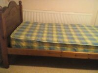 Single pine bed complete with mattress