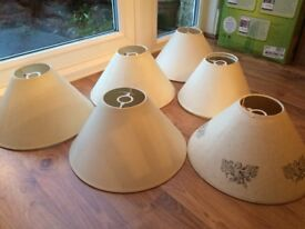 7 X cream coloured lampshades £10