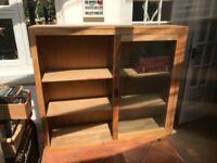 Solid Teak Glass Sliding Door Dresser/Bookshelf - Excellent Condition