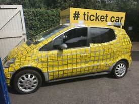 Car Hire Promotional Ticket Car ( Get Your Business Noticed )