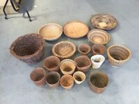 Wicker Baskets x 18 Selection of different shapes and sizes