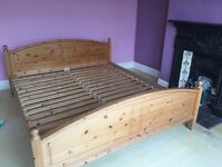 Super King size solid pine bed