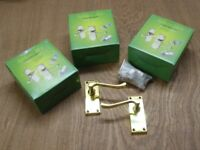 Door handle, latch and hinges set, brass finish ( x 3 )