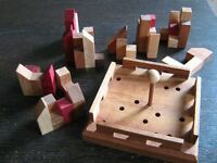 """Wooden game - Brainteaser """"Build your own city"""" wooden pieces and wooden tray"""