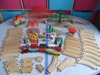 HUGE Bundle 80+ Wooden Train Track - Trains Bridges 8 way Turntable Points - BARGAIN £30 - CAN POST