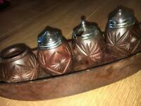 Antique wooden condiments holder