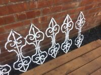 Set of 9 original wrought iron balusters / balustrade pillars 30""