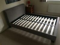 Grey/beige fabric as new double bed