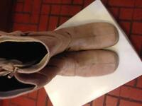 Beige suedette boots with buckle and strap detail - good condition Size 6.