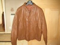 Brown leather jacket, hardly worn.