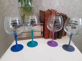 Let the weekend be Gin..Glitter Gin Glass