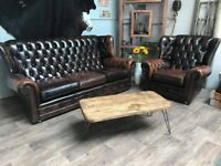 Chesterfield Vintage Leather 3 Seater Sofa & Armchair Brown