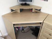 Beech coloured corner desk, 4 drawer unit and 2 door storage cupboard