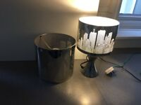 Chrome touch lamp with matching ceiling light in New York theme