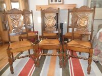 Six French oak dining chairs