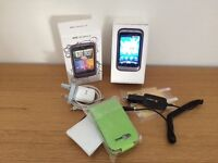 Htc Wildfire S mobile phone, boxed, charger, 2 new cases, 2 screen savers plus car charger