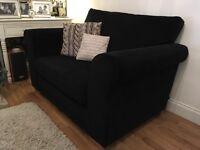 Next Black Madrid Snuggle Sofa / small 2 seater Brighton