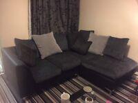 Gray and black corner sofa