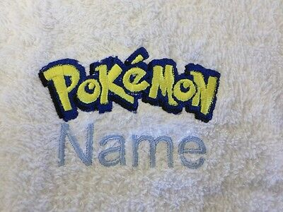 - POKEMON Embroidered on Towels Bath Robes, Hooded Towel - Personalised name