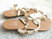 [NEW] [Leather] Brown/gold summer sandals - size 8/42